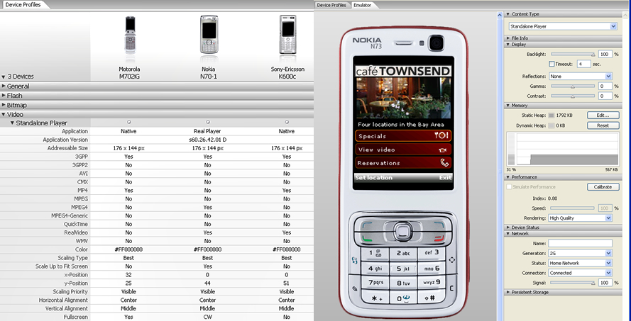 La interfaz de Adobe Device Central permite verificar el funcionamiento de las aplicaciones con diferentes fabricantes.