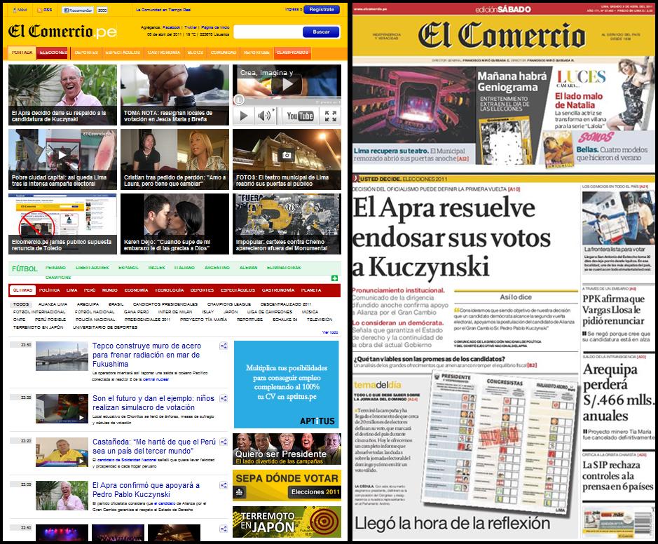 La edición online estructura las noticias principales en una cuadrícula sin distinción de categoría, mientras la impresa mantiene la jerarquización tradicional.